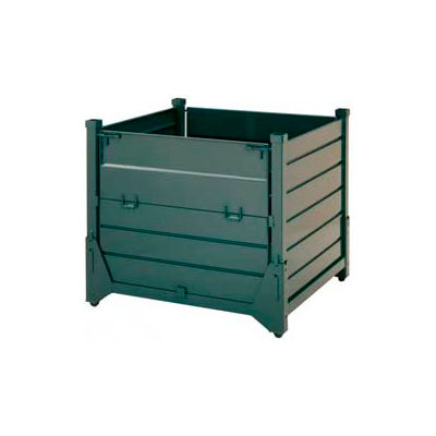 Steel King HF4CM454842VG Hold 'N Fold® Collapsible Containers, Corrugated Metal, 4000 Lb Cap