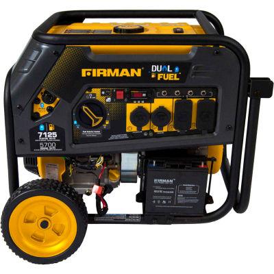 Firman 7100/5700 Watt Dual Fuel Portable Generator, Gas, Electric & Recoil Start, 120/240V - H05751