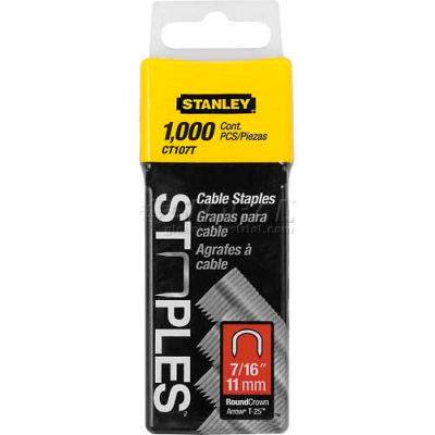 """Stanley CT107T Round Crown Cable Staples 7/16"""", 1,000 Pack - Pkg Qty 6"""