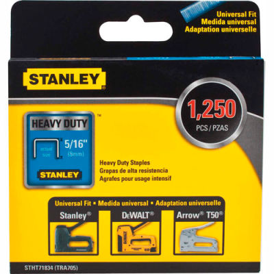 "Stanley® STHT71834  Heavy-Duty Narrow Crown Staples 5/16"" -1,250 Pack"