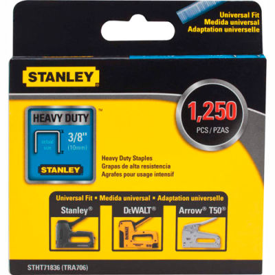 """Stanley® STHT71836  Heavy-Duty Narrow Crown Staples 3/8"""" -1,250 Pack"""