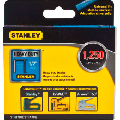 "Stanley® STHT71837  Heavy-Duty Narrow Crown Staples 1/2"" -1,250 Pack"