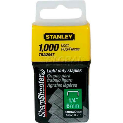 """Stanley TRA204T Light Duty Wide Crown Staples 1/4"""", 1,000 Pack"""
