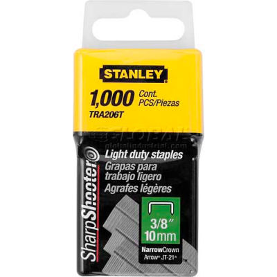 """Stanley TRA206T Light Duty Wide Crown Staples 3/8"""", 1,000 Pack - Pkg Qty 5"""
