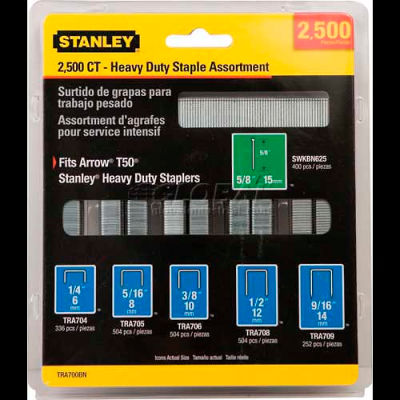 Stanley TRA700BN Heavy-Duty Narrow Crown Staple & Brad Asst, 2,500 Pk