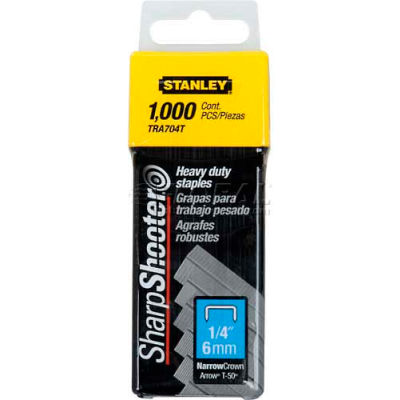 """Stanley TRA704T Heavy-Duty Narrow Crown Staples 1/4"""", 1,000 Pack"""