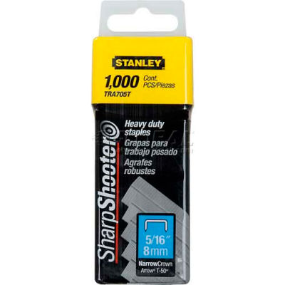 """Stanley TRA705T Heavy-Duty Narrow Crown Staples 5/16"""", 1,000 Pack - Pkg Qty 6"""