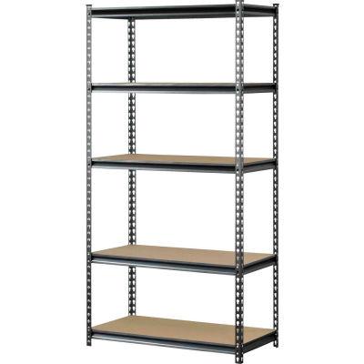 "Sandusky Muscle Rack Boltless Shelving With Wood Deck, 30""W x 12""D x 60""H, 5 Shelves, Silver"