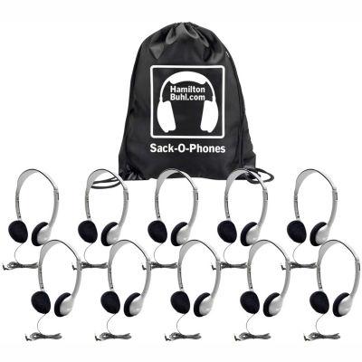 HamiltonBuhl Sack-O-Phones, 10 HA2 Personal Headsets, Foam Ear Cushions in a Carry Bag