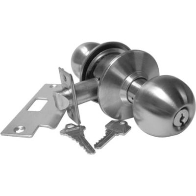 """Hd Cyl. Locksets - Entry Lock Stainless Steel Keyed Different 2-3/8"""" Bs - Pkg Qty 3"""