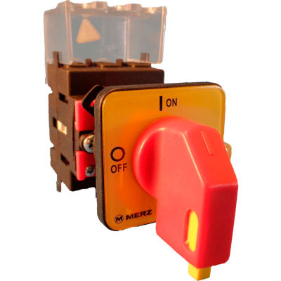 Springer Controls/MERZ ML1-040-CR2, 40A, 3-Pole, Disconnect Switch, Red/Yellow, Center-Mount,Lockout