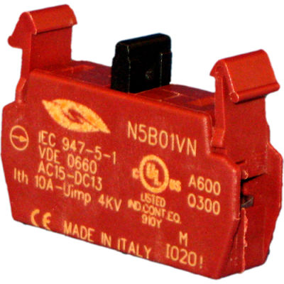 Springer Controls N5B01VN, N5 Series, 22mm Contact block, 1NC, screw terminal.