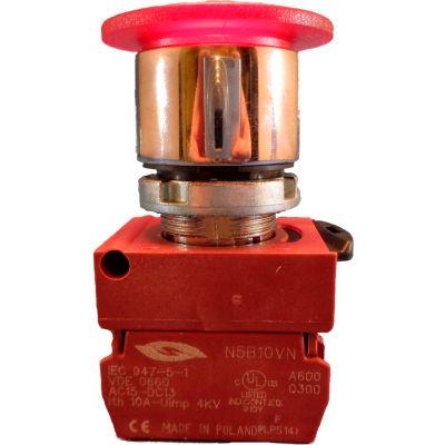 22mm Mushroom Head Pushbutton, chrome bezel, 3 pos; momentary push & pull, amber, illuminated