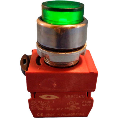 Springer Controls N5CPLVSDTY, Press-To-Test Pilot Light Green, AC, 460V Transformer