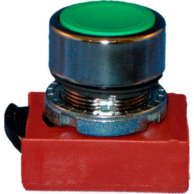 Springer Controls N5CPNLG, 22 mm Push Button Operator, chrome, blue cap, flush.