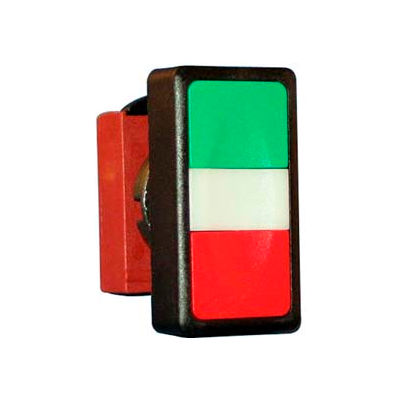 N5DPLVRG00, 22 mm Double Push Button Operator, Green-Red, Flush top & bottom, no symbols