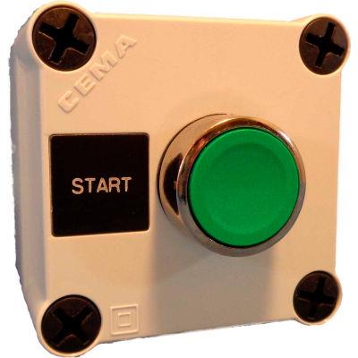 22mm Push Button Station; Single Element, Start (Green), Momentary, Chrome Bezel, NO contact, N4X