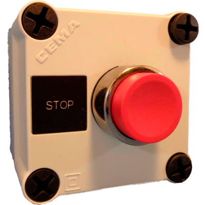 22mm Push Button Station; Single Element, Stop (Red), Momentary, Chrome Bezel, 1NC contact, N4X