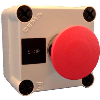 22mm Pushbutton Station; Single Element, Mshrm Head (40mm, Red), Momentary, Chrome Bezel, 1NC, N4X