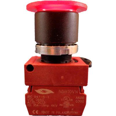 22mm Mushroom Head Pushbutton, black bezel, 3 pos; maintained push, momentary pull, red, illuminated