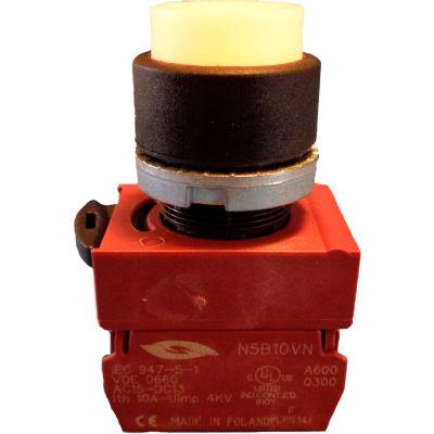 Springer Controls N5XPLBSDTJ, 22 mm Press-to-Test, black bezel, White lens, Transformer, 120v