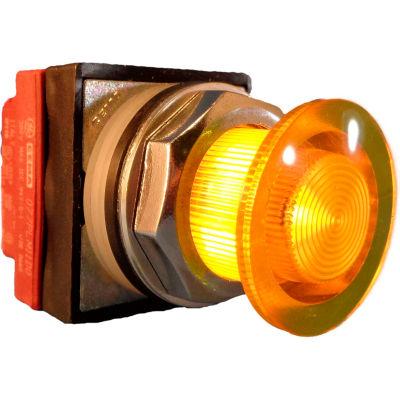 Springer Controls N7ELSGT10-480, 30mm Illuminated Mushroom-Head, Momentary, 480V, 1 N.O. - Yellow