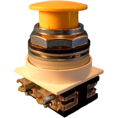 Springer Controls N7ET3G11,30 mm Mushroom-Head,1 Norm. Open,1 Norm. Closed,Push-Pull Maint.,Yellow