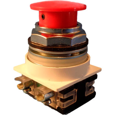 Springer Controls N7ET3R10, 30 mm Mushroom-Head, 1 Normally Open, Push-Pull Maintained, Red