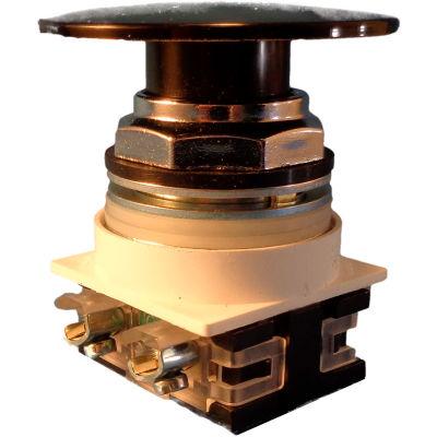 Springer Controls N7ET6N11,30 mm Mushroom-Head,1 Norm. Open,1 Norm. Closed,Push-Pull Maint.,Black