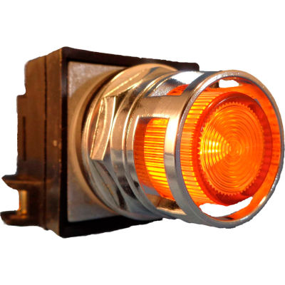 Springer Controls N7PLMAD00-24, 30mm Illum. Push-Button, Guarded, Momentary, 24V, No Contacts, Amber