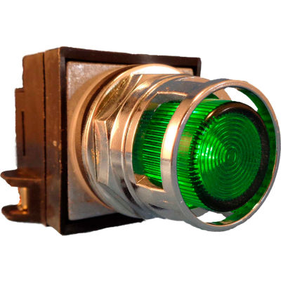 Springer Controls N7PLMVR00-240, 30mm Illum. Push-Button, Guarded, Momentary, 240V,No Contacts,Green