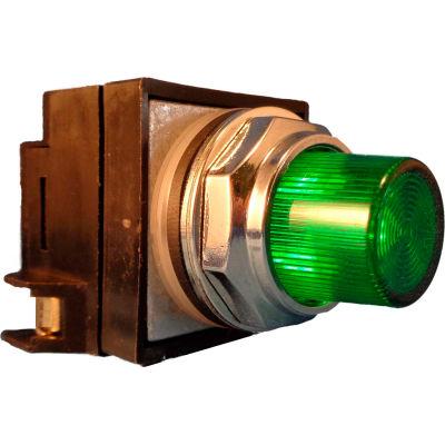 Springer Controls N7PLSVR10-240, 30mm Illum. Push-Button, Extended, Momentary, 240V, 1 N.O., Green