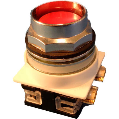 Springer Controls N7PNER01, 30 mm Recessed Push Button, 1 Normally Closed, Momentary, Red