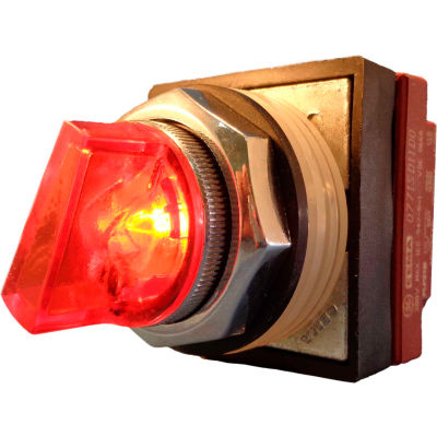 Springer Controls N7SLLADL00,30mm Illum. 3-Pos. Selector,1-0-2,Maintained,120V,No Contacts,Amber