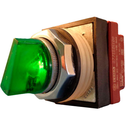 Springer Controls N7SLLVDL00,30mm Illum. 3-Pos. Selector,1-0-2,Maintained,120V,No Contacts,Green