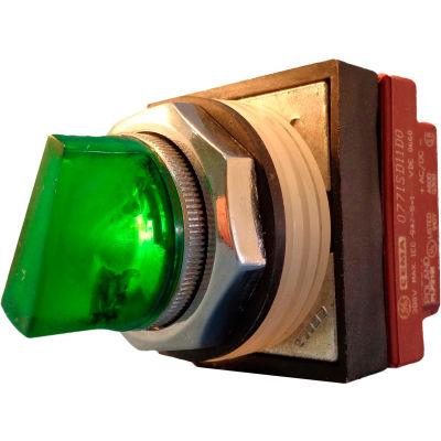 Springer Controls N7SLZVDD00,30mm Illum. 3-Pos. Selector,1-0-2,Maintained,24V,1 N.O. 1 N.C.,Green