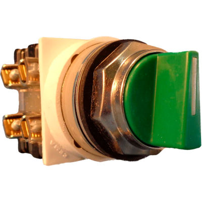 Springer Controls N7SMEV011, 30mm 3-Pos. Selector, 1-0-2, Maintained, 1 N.O. 1 N.C., Green