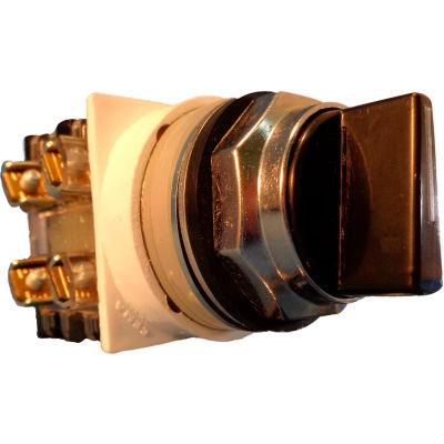 Springer Controls N7SMLN511, 30mm 3-Pos. Sel., 1-0-2, Spring Return Rt to Center, 1 N.O. 1 N.C., Blk
