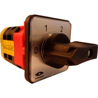 Springer Controls / MERZ V151/1224-AA, 3 Steps Switch w/Zero Pos., 1-Pole, 20A, 4-hole front-mount