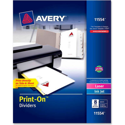 """Avery Customizable Print-On Divider, 8.5""""x11"""", 8 Tabs, 25 Sets, White/White"""