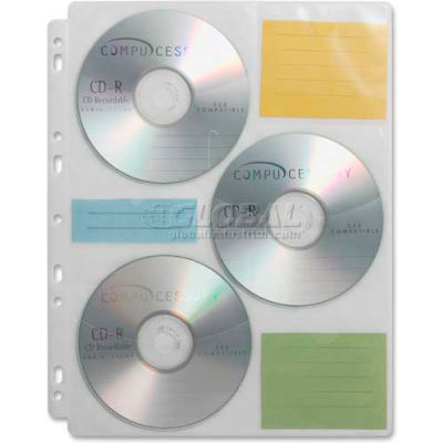 Compucessory CD/DVD Media Binder Refill, 22297, 25/Pk, Clear