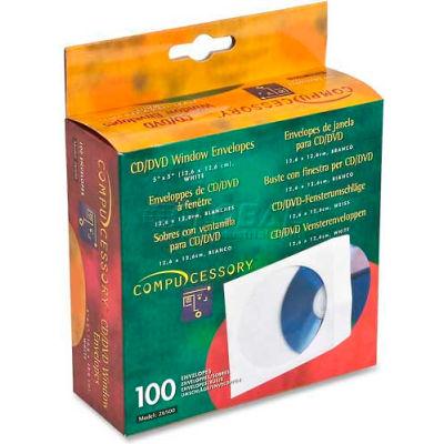 "Compucessory CD/DVD Window Envelopes, 26500, 5"" X 5"", 100/Box, White"