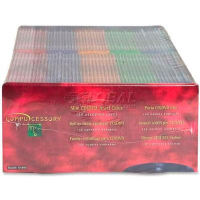Compucessory Thin CD/DVD Jewel Case, 55403, W/Literature, 100/Pk, Assorted