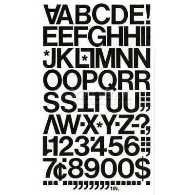 "Chartpak Vinyl Letters & Numbers, CHA01030, 1""H, Black, Helvetica Font, 88 Pcs"