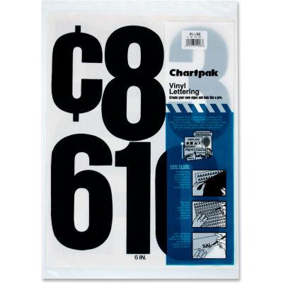 """Chartpak® Vinyl Numbers, Adhesive, 21 Numbers, 6"""", Black"""