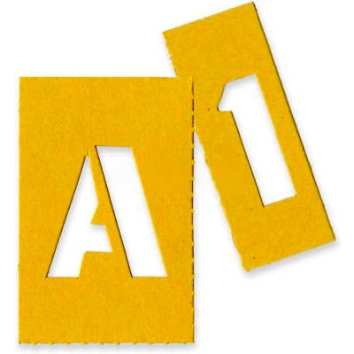 """Chartpak Painting Letters & Numbers Stencil, CHA01550, 1""""H, Yellow, Gothic Font, 35/Set"""