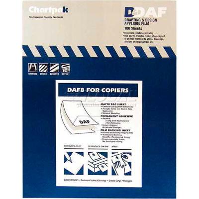 "Chartpak® Applique Drafting Film, DAF8, Permanent, 11""L X 8-1/2""W, 100/Box"