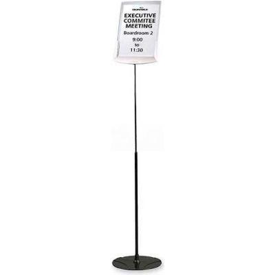 "Durable® Floor Sign Holder, 558957, Adjust. Height, 10-5/8"" X 10-5/8"" X 40-60"", Grey"