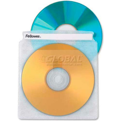 "Fellowes® CD/DVD Double Side Sleeves, 90659, 5"" X 5-3/4"", 50/Pk, Clear"