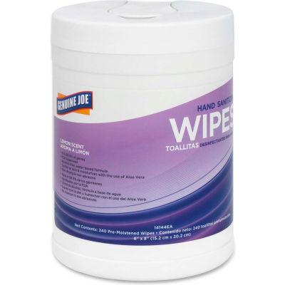 """Genuine Joe Hand Sanitizing Wipes Lemon 6"""" x 8"""", 240 Wipes/Tub, 1 Tub/Case - GJO14144EA"""